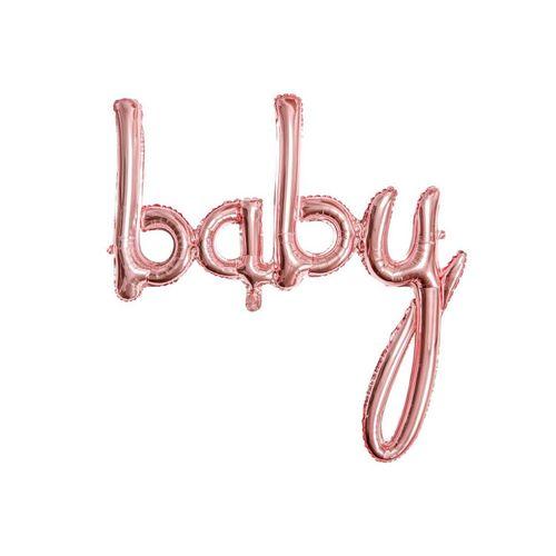 partydeco Luftballon, Folienballon Baby / Babyparty 73.5cm, rosegold