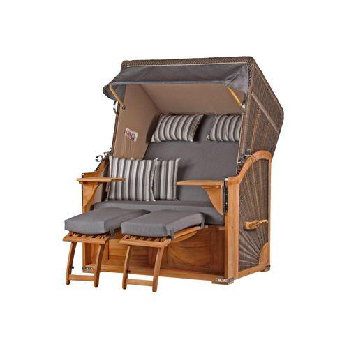 bene living Strandkorb »Schaalsee Teak - PE grau - Modell 544«, BxTxH: 125x80x170 cm, Volllieger ca. 175 Grad, Ostsee-Strandkorb