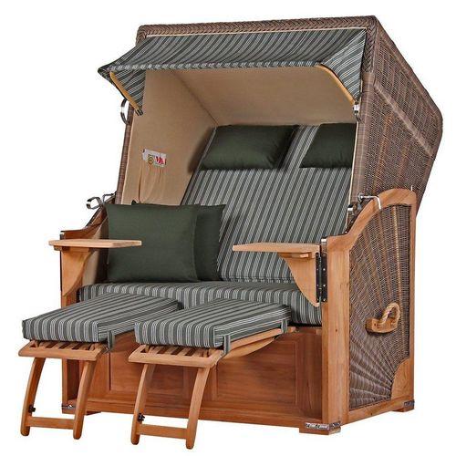 bene living Strandkorb »Schaalsee Teak - PE grau - Modell 504«, BxTxH: 125x80x170 cm, Volllieger ca. 175 Grad, Ostsee-Strandkorb, grau