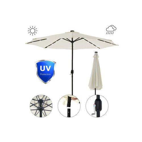 Mucola Sonnenschirm »Sonnenschirm Marktschirm Ø3m LED Beleuchtung Strandschirm Gartenschirm UV-Schutz Ampelschirm Sonnenschutz Kurbelschirm Balkonschirm«, Premium-Sonnenschirm, LED-Beleuchtung, beige