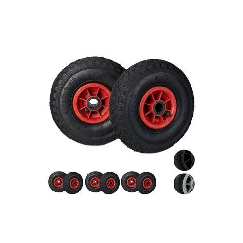 relaxdays Sackkarren-Rad »8 x Sackkarrenrad 3.00-4 schwarz-rot«