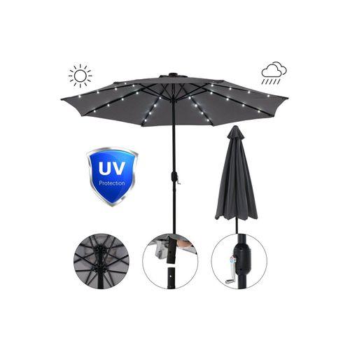 Mucola Sonnenschirm »Sonnenschirm Marktschirm Ø3m LED Beleuchtung Strandschirm Gartenschirm UV-Schutz Ampelschirm Sonnenschutz Kurbelschirm Balkonschirm«, Premium-Sonnenschirm, LED-Beleuchtung, grau
