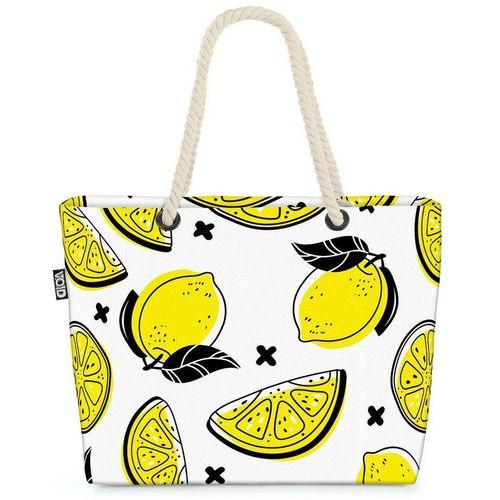 VOID Strandtasche (1-tlg), Sommer Zitronen Beach Bag Zitrone Südfrüchte Saft Limo Limonade Obst Früchte