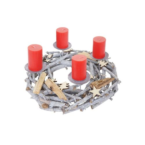 MCW Adventskranz »T871«, Ø 40 cm, Mit 4 Kerzenhaltern, Aufwendig geschmückt, grau