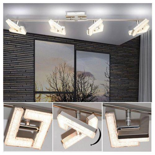 Globo LED Deckenleuchte, Decken Strahler Ess Wohn Zimmer Lampe Kristall Strahler Weiß Rondell Spots schwenkbar Globo 56118-4