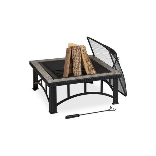 relaxdays Feuerschale »Feuerschale Steindekor grau«