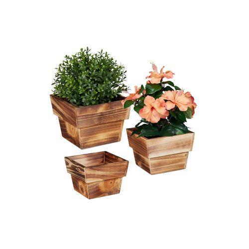 relaxdays Blumentopf »Blumentopf Holz 3er Set«