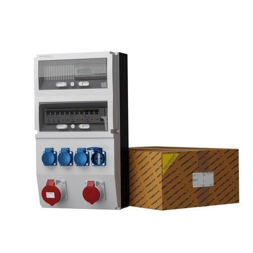 Doktorvolt »Stromverteiler eXT-S/FI 32A 16A 4x230V + 3Phasige Stromzähler mit Mennekes Dosen« Steckdosenverteiler 6-fach (1x LSS C32A 10kA 3P, 1x LSS C16A 10kA 3P, 2 x LSS C16 1P 10kA SIEMENS, Fi-Schalter SEZ 40A 30mA 4P Typ A), ausgestattet mit Mennekes-Steckdosen
