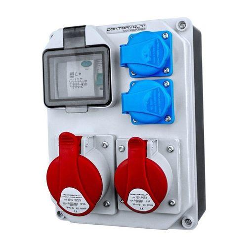 Doktorvolt Verteilerbox »Baustromverteiler FI-Schutzschalter HL-FI 1x16A 1x32A 2x230V franz/belg System Stromverteiler Verteilerkasten«, Fi-Schalter