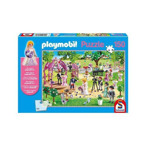Schmidt Spiele Puzzle »Schmidt 56271 - PLAYMOBIL® - Puzzle, 150 Teile, inkl. original Figur, Die Hochzeit«, 150 Puzzleteile, bunt