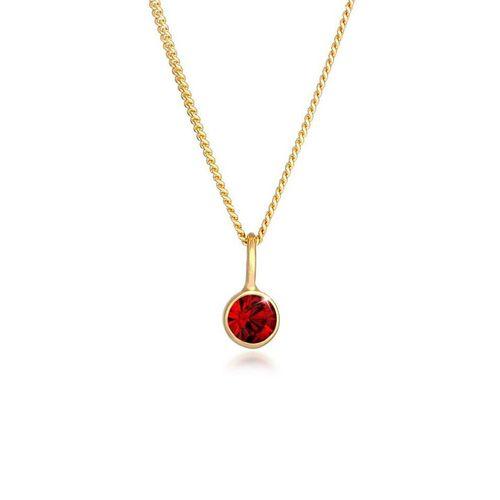 Elli Kette mit Anhänger »Solitär Rund Kristall Rot 925 Silber«, Kristall Kette, goldfarben
