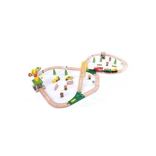 wuuhoo Spielzeug-Eisenbahn »Holz-Eisenbahn Paulchen im Set für Kinder«, Spielzeugeisenbahn mit viel Zubehör I Kinder-Eisenbahn mit Kran, Brücke, Baumaschinen, Figuren und Pflanzen