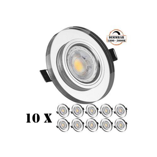 LEDANDO LED Einbaustrahler »10er LED Einbaustrahler Set GU10 in Glas / Kristall mit 5