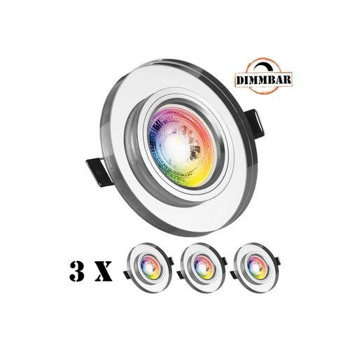 LEDANDO LED Einbaustrahler »3er RGB LED Einbaustrahler Set GU10 in Glas / Kristall mit 3W LED von LEDANDO