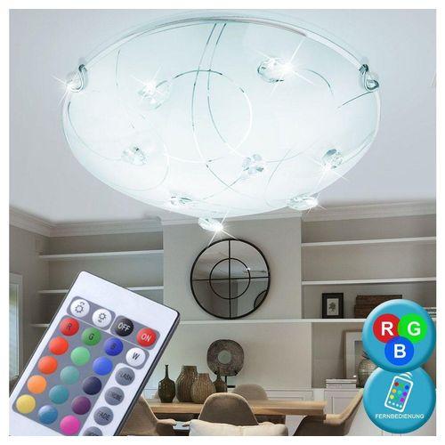 etc-shop Deckenleuchte, RGB LED 18 Watt Decken Leuchte rund Glas Muster Kristalle klar Beleuchtung