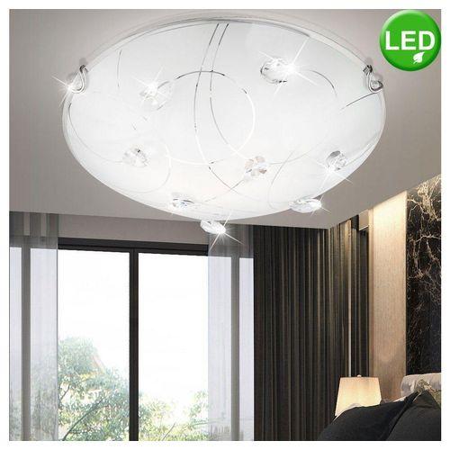 etc-shop Deckenleuchte, 14 Watt LED Design Decken Leuchte Beleuchtung Glas Kristalle Licht Glas Kristalle