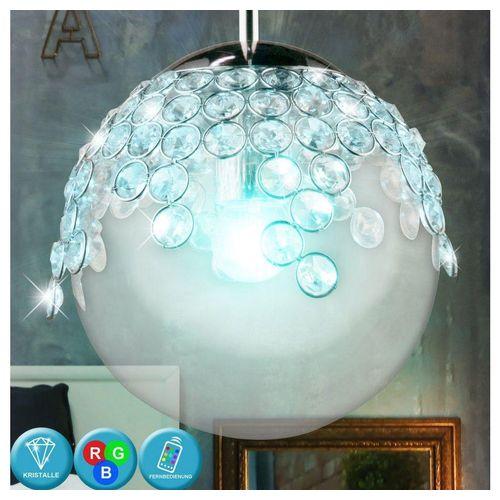 etc-shop Kugelleuchte, Pendel Leuchte Ess Zimmer Hänge Decken Kristall Glas Kugel Lampe im Set inkl. RGB LED Leuchtmittel