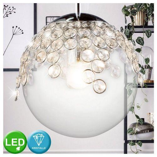 etc-shop Kugelleuchte, Hänge Lampe Wohn Ess Zimmer Pendel Decken Kristall Leuchte Glas Kugel im Set inkl. LED Leuchtmittel