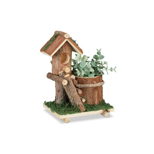 relaxdays Blumentopf »Holz Blumentopf mit Vogelhaus«