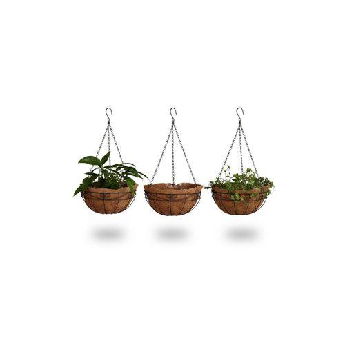 relaxdays Blumenampel »Blumenampel 3 Körbe Kokos«