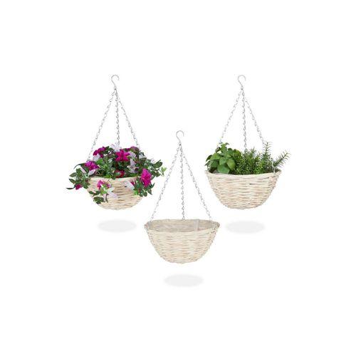 relaxdays Blumenampel »Blumenampel 3er Set aus Rattan