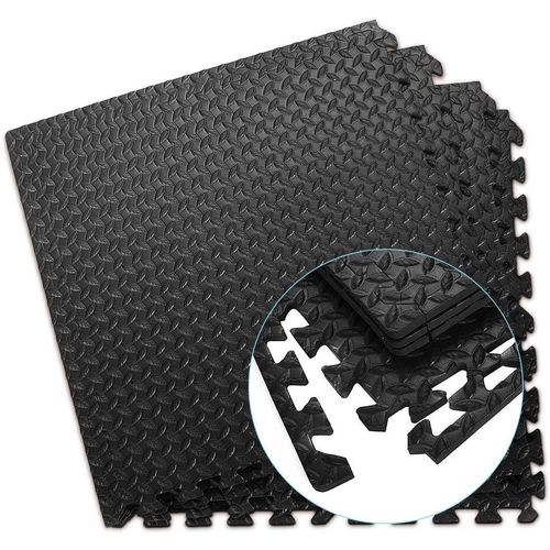 COSTWAY Bodenschutzmatte »Schutzmatte, Puzzlematte«, 12-St., je 60x60x1,2cm, aus Eva, schwarz