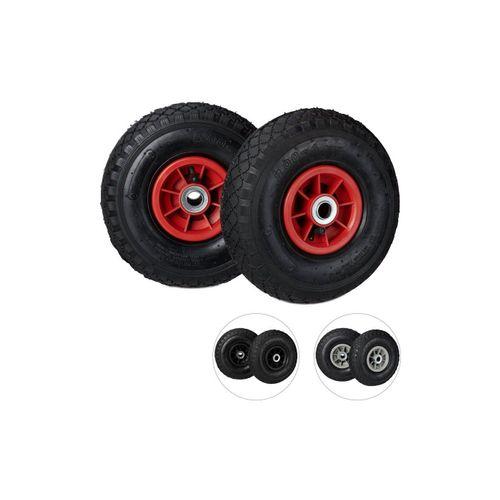 relaxdays Sackkarren-Rad »2 x Sackkarrenrad 3.00-4 schwarz-rot«