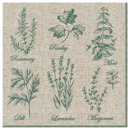 Linoows Papierserviette »20 Servietten, Duftende Küchenkräuter, Garten«, Motiv Duftende Küchenkräuter, Garten Kräuter