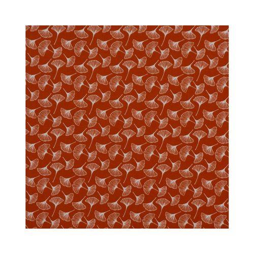 SCHÖNER LEBEN. Stoff »Dekostoff Baumwollstoff Ginkgo Pflanze rost-rot weiß 1