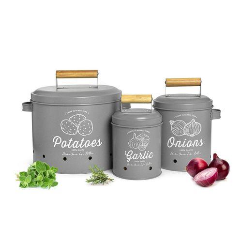 Sendez Vorratsdose »3 Vorratsbehälter Kartoffeltopf Knoblauchtopf Zwiebeltopf Vorratsdosen«, Grau
