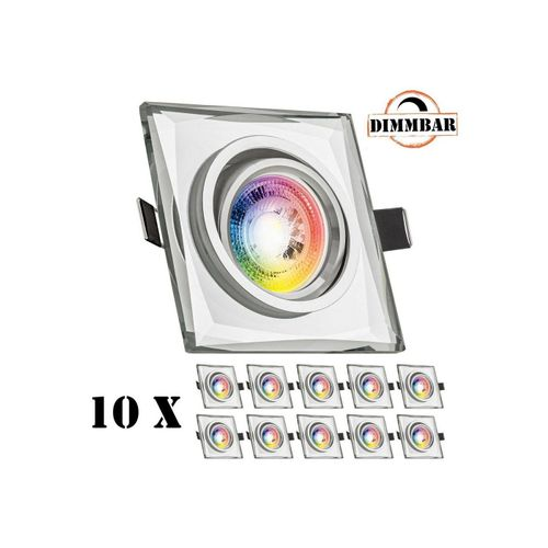 LEDANDO LED Einbaustrahler »10er RGB LED Einbaustrahler Set GU10 in Glas / Kristall mit 3W LED von LEDANDO