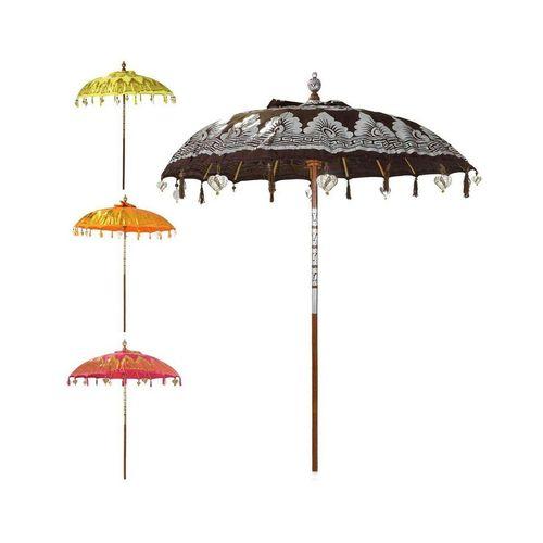Oriental Galerie Sonnenschirm »Balinesischer Sonnenschirm 180 cm Doppelte Bemalung Braun Silber«, Handarbeit, braun