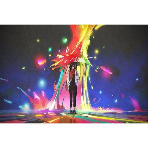 DesFoli Poster »Regenschirm Regenbogenfarben Fantasy P2317«