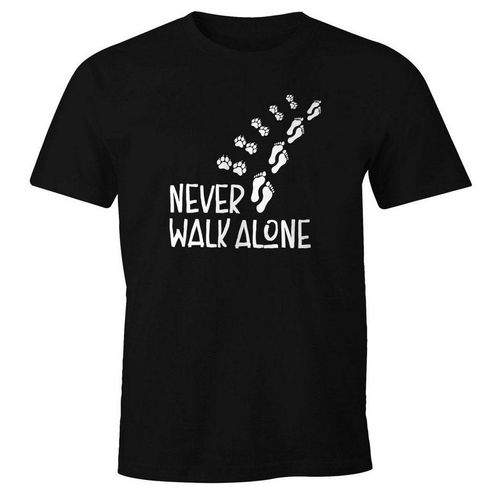 MoonWorks Print-Shirt »Herren T-Shirt Never walk alone Hund Pfoten Hundepfoten Pfotenabdrücke Hundebesitzer Fun-Shirt Moonworks®« mit Print, schwarz