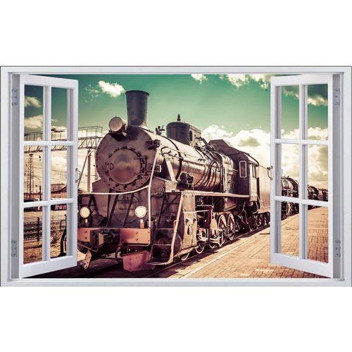 DesFoli Wandtattoo »Fotografie Eisenbahn Lok Vintage F1771
