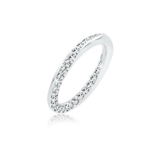 Elli Fingerring »Bandring Kristalle Silber«, Kristall Ring, weiß