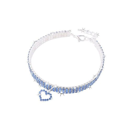 TOPMELON Tier-Halsband, Legierung, Hundehalsband, Kristallkragen & Glänzender Heller Kristalldiamant, blau