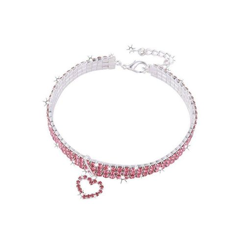 TOPMELON Tier-Halsband, Legierung, Hundehalsband, Kristallkragen & Glänzender Heller Kristalldiamant, rosa