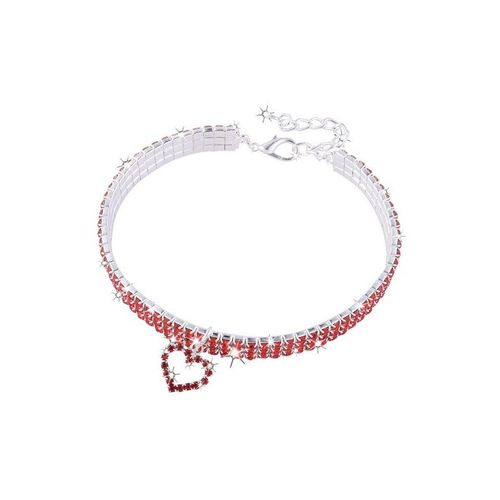 TOPMELON Tier-Halsband, Legierung, Hundehalsband, Kristallkragen & Glänzender Heller Kristalldiamant, rot