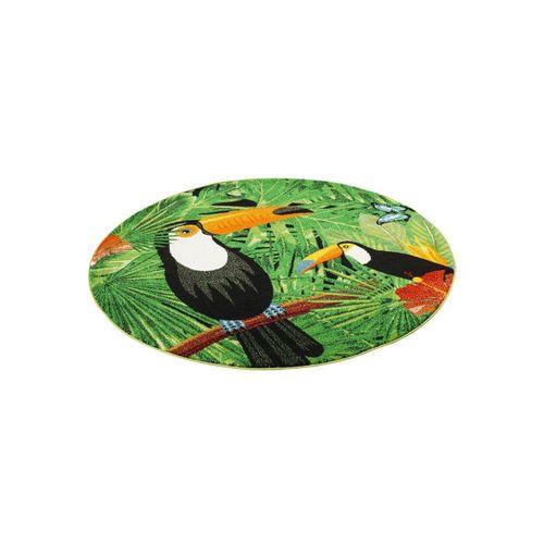Designteppich »Designer Teppich Faro Tropical Tukan Rund«, Pergamon, Rechteckig, Höhe 11 mm