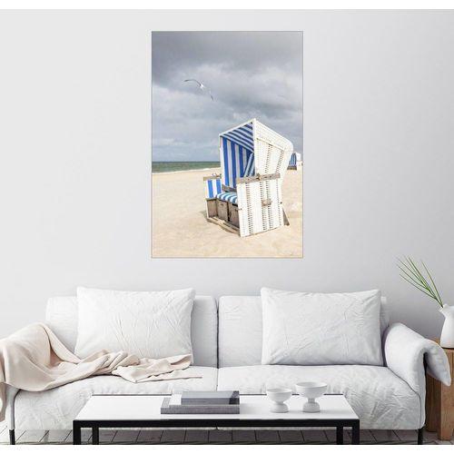 Posterlounge Wandbild, Möwe und Strandkorb auf Sylt