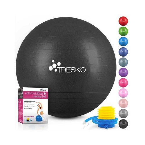 TRESKO Gymnastikball, Yogaball mit GRATIS Übungsposter inkl. Luftpumpe