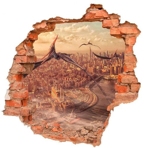 DesFoli Wandtattoo »Dinosaurier Flugsaurier Stadt Skyline B0545«