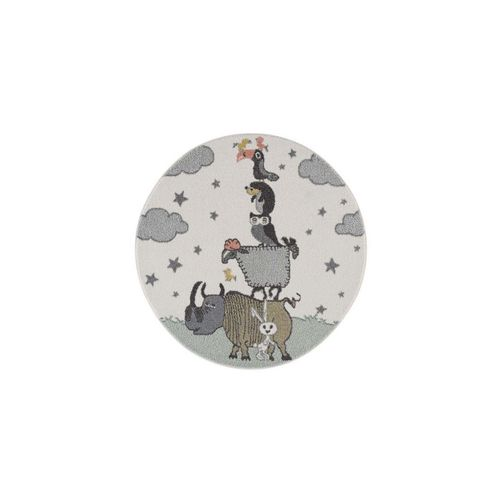 Kinderteppich »Lustige Tiere - Pastellfarben«, payé, Rund, Höhe 11 mm