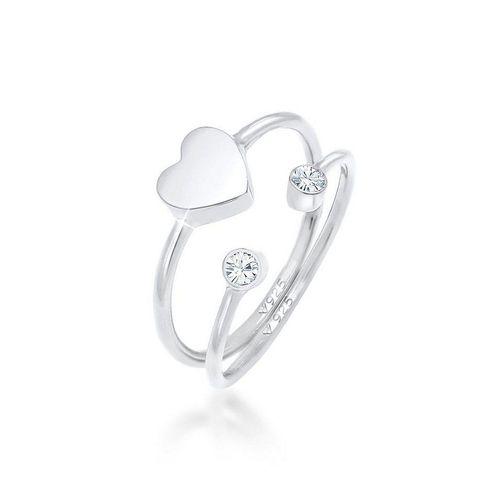 Elli Ring-Set »Herz Liebe Kristall (2 tlg) 925 Silber«, Kristall Ring, silberfarben