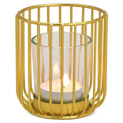 matches21 HOME & HOBBY Kerzenhalter »Windlicht Metall & Glaseinsatz Deko Gold 1 Stk Ø 8x9 cm