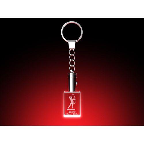 GLASFOTO.COM Schlüsselanhänger mit Gravur »Sternzeichen – Schlüsselanhänger mit LED Leuchte – Kristallglas mit Innengravur«