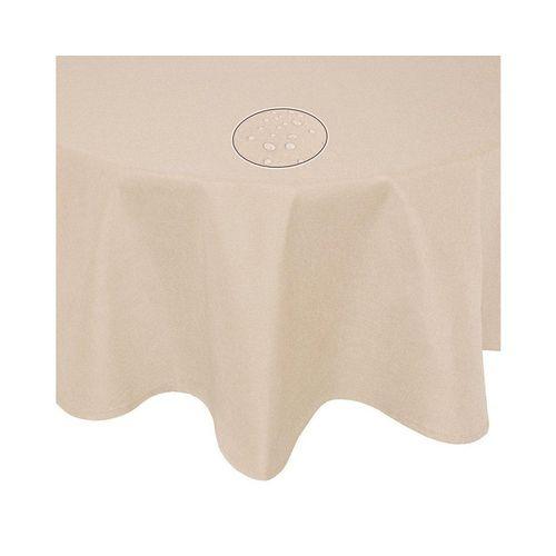 Fiora Tischdecke »Leinenoptik Lotuseffekt Tischtuch bügelfreie Tischdecke mit Fleckschutz«, uni fleckenabweisend, beige