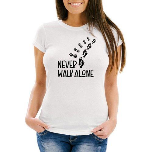 MoonWorks Print-Shirt »Damen T-Shirt Never walk alone Hund Pfoten Hundepfoten Pfotenabdrücke Hundebesitzer Slim Fit Moonworks®« mit Print, weiß