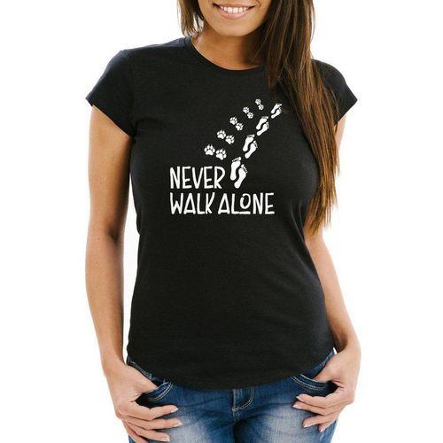MoonWorks Print-Shirt »Damen T-Shirt Never walk alone Hund Pfoten Hundepfoten Pfotenabdrücke Hundebesitzer Slim Fit Moonworks®« mit Print, schwarz